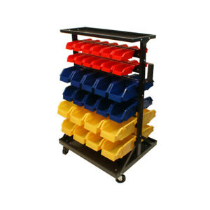 Mobile 60 Removable Bins Rack Parts Accessories Storage Organizer W Wheels