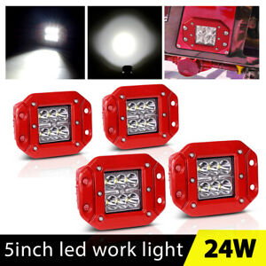4x 5inch 48w Flush Mount Cree Led Work Light Pods Spot Driving Lamp Suv Ute Atv