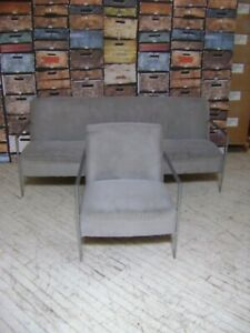 Modern Style Waiting Room Grey Sofa Couch Chair Set