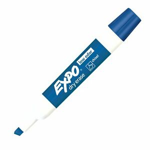 80003 Expo Low Odor Dry Erase Whiteboard Marker Chisel Tip Blue Pack Of 24