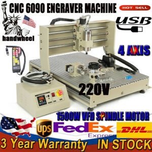 1 5kw Usb 220v 4axis 6090cnc Router Drill Engraver Engraving Machine Woodworking