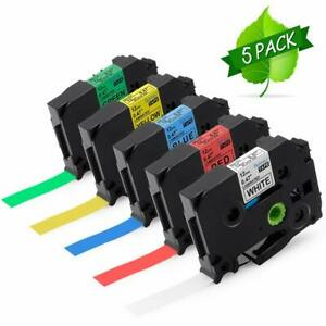 5pk Tze 231 431 531 631 731 Compatible With Brother P touch Label Maker Tape 12