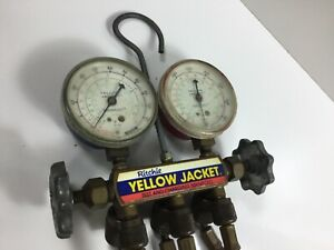 Vintage Yellow Jacket Test And Charging Manifold With Hoses Hvac Ritchie