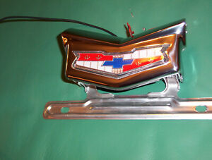 1959 Chevy Wagon El Camino Tailgate License Light Lamp Stainless Emblem