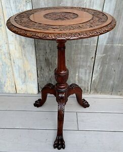 Antique Victorian Carved Walnut Tilt Top Pedestal Cabriole Legs Paw Feet Table