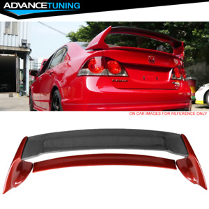 Fits 06 11 Civic Mugen Rr Carbon Top Painted Trunk Spoiler Habanero Red Pearl