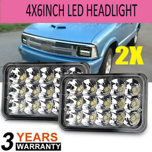 2x 4x6 Square Led Headlights With Drl For Chevrolet S10 1997 1996 1995 R10 1987