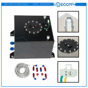 Eccpp 5 Gallon Black Aluminum Fuel Cell Gas Tank cap level Sender fuel Line Kit