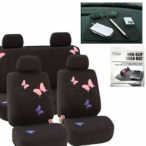 Butterfly Car Seat Covers Black With Pink Blue Butterflies 8 Piece Full Set