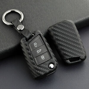 Carbon Fiber Leather 5 Buttons Key Fob Cover Chain For Vw Skoda Octavia Kodiaq