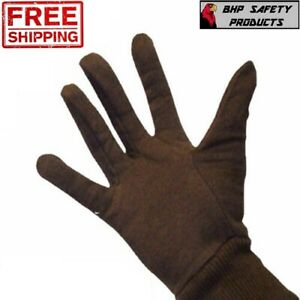 Brown Cotton Jersey Work Gloves Large Industrial Grade Mens Size