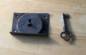 Antique Vintage Lock Mechanism With Skeleton Key Dead Bolt