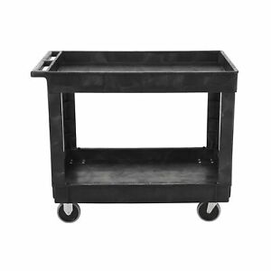 Rubbermaid Commercial Utility Cart Lipped Shelves Medium Size Black Fg9t6700bla