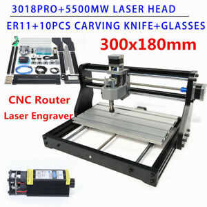 3 Axis Cnc 3018 Pro Machine Router Engraver Pcb Wood Milling 5500mw Laser Head