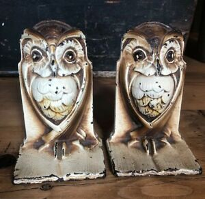 Antique Bradley Hubbard Wise Old Owl On Open Book Bookends Hand Painted 587