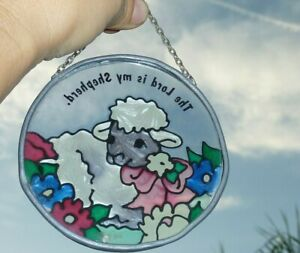Christian Suncatcher Stained Glass The Lord Is My Shepherd Lamb Jesus Religious