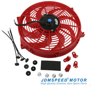 14 Inch Universal Slim Fan Push Pull Electric Radiator Cooling 12v Red Kit