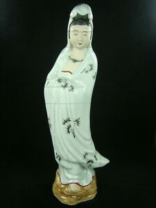 Antique Early 20th Cent Chinese Porcelain Guanyin Figure Kwan Yin Statue 12 5