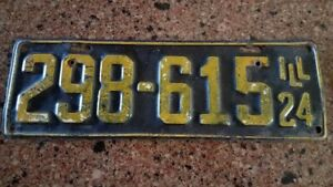 Illinois License Plate 1924 Original Barn Find Rat Rod Hot Rod Ford Chevy Olds