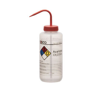 Acetone Wash Bottle 1000ml Wide Mouth Pre labeled Ldpe Eisco Labs
