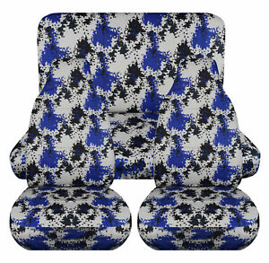 Full Set Front Rear Pixel Camo Blue Car Seat Covers Fits 1989 1998geo Tracker
