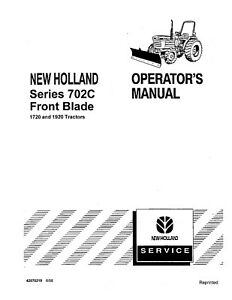 New Holland 702c Front Blade 1720 1920 Tractor Operators Manual