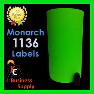 Monarch 1136 Labels Green Price Gun 8 Rolls Ink Roller Included Made In Usa