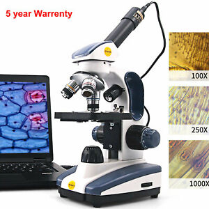 Swift Pro Digital Compound Microscope 1000x Dual Light Student Lab W Usb Camera