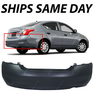 New Primered Rear Bumper Cover Replacement For 2012 2013 2014 Nissan Versa Sedan