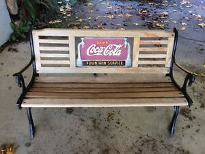 VINTAGE DRINK COCA COLA FOUNTAIN SERVICE CAST IRON BENCH & Rocking Chair