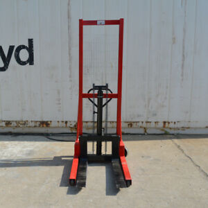Intbuying1ton Manual Hydraulic Pump Walkie Stacker Forklift Reach Pallet 2200lbs