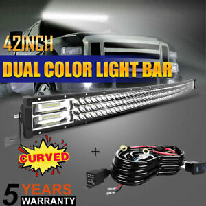 Roof Curved 42inch Tri row Led Light Bar Slim Spot Flood Fog 44