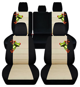 Custom Fit Front Rear Car Seat Covers Blk Beige Fits Jeep Renegade 2015 2019