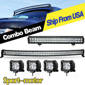 4d Curved Led Light Bar 52inch 20 4x 4 Pods Light Offroad For 4x4 Jeep Atv