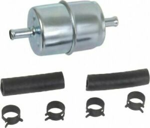 Fuel Filter Universal Inline Metal 1 4 With Clamps And Hose In Line