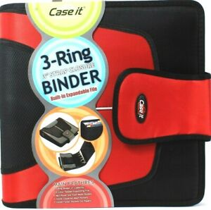 1 Ct Case It 3 Ring 3 Strap Closure Built In 5 Color Tab Expanding File Binder