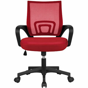Computer Desk Rolling Chair Mid back Mesh Office Chair Height Adjustable Red
