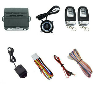 Keyless Entry Car Alarm Security System Engine Start Push Button 2 Key Remote