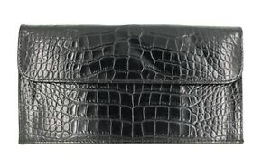 Vtg Raika Black Croc Leather Travel Pouch Zip Snap Organizer