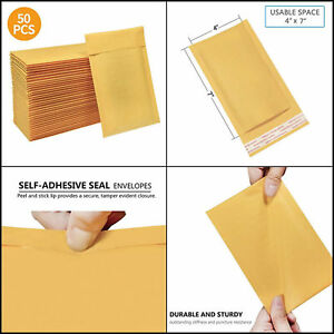10 20 50 100pcs Bubble Envelopes Self Seal Kraft Padded Mailer Shipping Bag