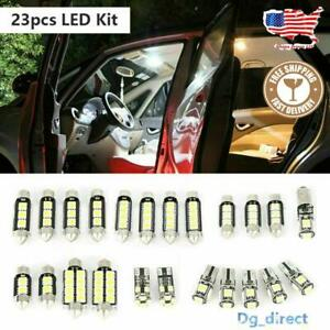 23pcs Led Car Light Bulb Interior Map Dome Trunk License Plate Lamps Kit White