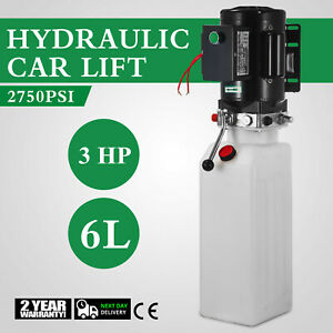 6l Car Lift Hydraulic Power Unit Pack 220v 3hp 2750 Psi 1 2cc Rev Universal