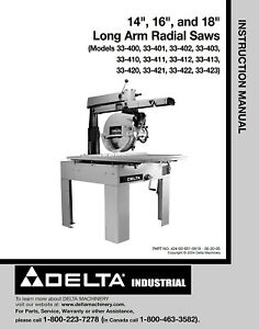 Delta 33 400 see Picture 14 16 18 Long Arm Radial Saws Instructions