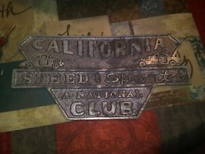 California Speed And Sports Cast Aluminum Car Club Plaque Cool Hot Rod