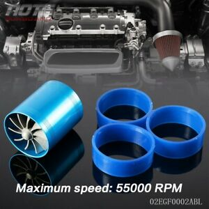 Universal Fit Turbo Double Fan Air Intake Fuel Saver Fan Turbo Supercharge Blue