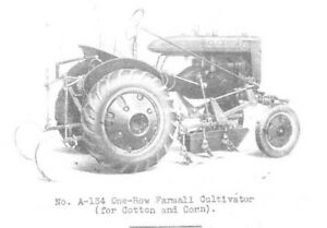 Farmall A A 134 1 row A 435 4 row Hand Lift Cultivator Owner s Parts Manual Ih
