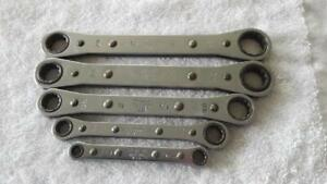 Snap On Tools 5 Piece Sae 0 Offset Ratcheting Wrenches