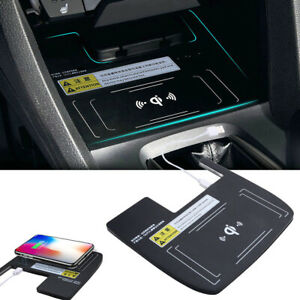 Black Console Wireless Car Cell Phone Charger Charging For Honda Civic 16 17 18