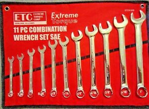 Six Point Sae Combination Extreme Torque Wrench Set 3 8 To 1 Canvas Pouch 6pt