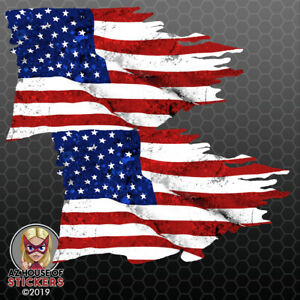 Usa Tattered Flag Stickers Car Truck American Waving Bumper Vinyl Decal Fs2013
